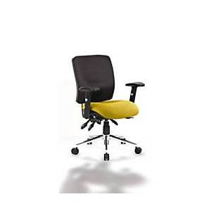 dynamic Task Operators Chair Chiro Medium Back Black Fabric Back With Seat In Senna Yellow With Adjustable Arms  - Senna Yellow