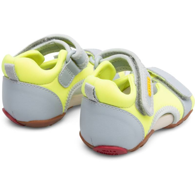 Camper Ous, Sandals Kids, Grey/Yellow, Size 22 (UK), K800275-004