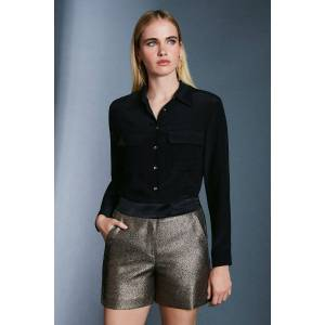 Karen Millen Metallic Jacquard Shorts -, Gold  - Size: 16