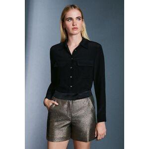 Karen Millen Metallic Jacquard Shorts -, Gold  - Size: 8