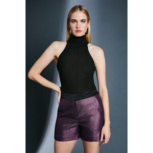 Karen Millen Metallic Jacquard Shorts -, Navy  - Size: 16