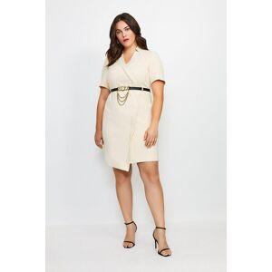 Karen Millen Curve Forever Chain Wrap Dress -, Cream  - Size: 18