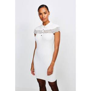 Karen Millen Lace Insert Collared Knit Dress -, Ivory  - Size: Extra Small