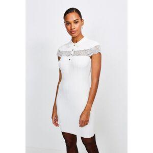 Karen Millen Lace Insert Collared Knit Dress -, Ivory  - Size: Large