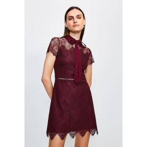 Karen Millen Lace Tie Neck Mini Dress -, Red  - Size: 14