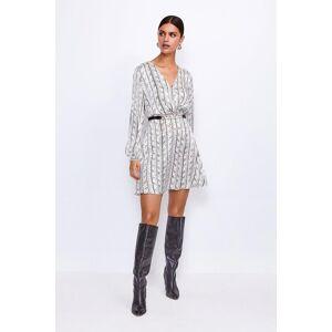 Karen Millen Printed Silk Front Wrap Dress, White  - Size: 6