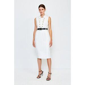 Karen Millen Tailored Button Military Dress -, Ivory  - Size: 12