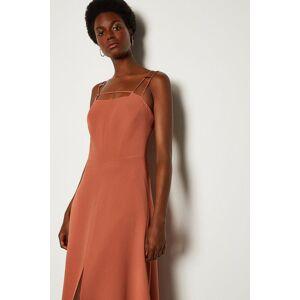 Karen Millen Strap And Bar Midi Dress -, Tan  - Size: 10