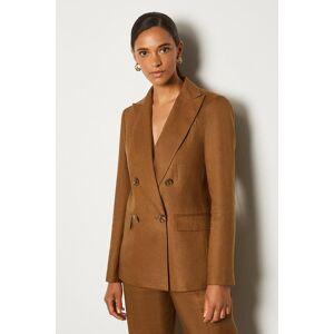Karen Millen Italian Linen Double Breasted Jacket -, Brown  - Size: 16