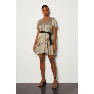 Karen Millen Spot Print Zip Front Short Dress -, Grey  - Size: 16