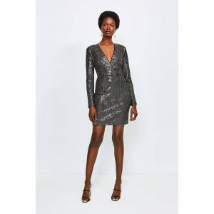 Karen Millen Sequin Wrap Front Long Sleeve Dress -, Gold  - Size: 12