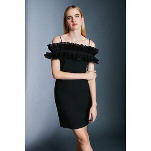 Karen Millen Pleated Organza Bardot Mini Dress -, Black  - Size: 16