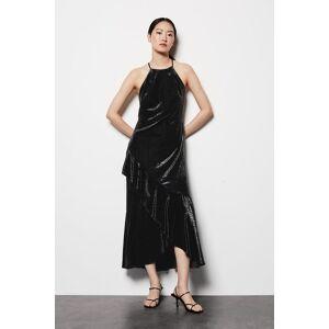 Karen Millen Halter Neck Velvet Dress -, Black  - Size: 14