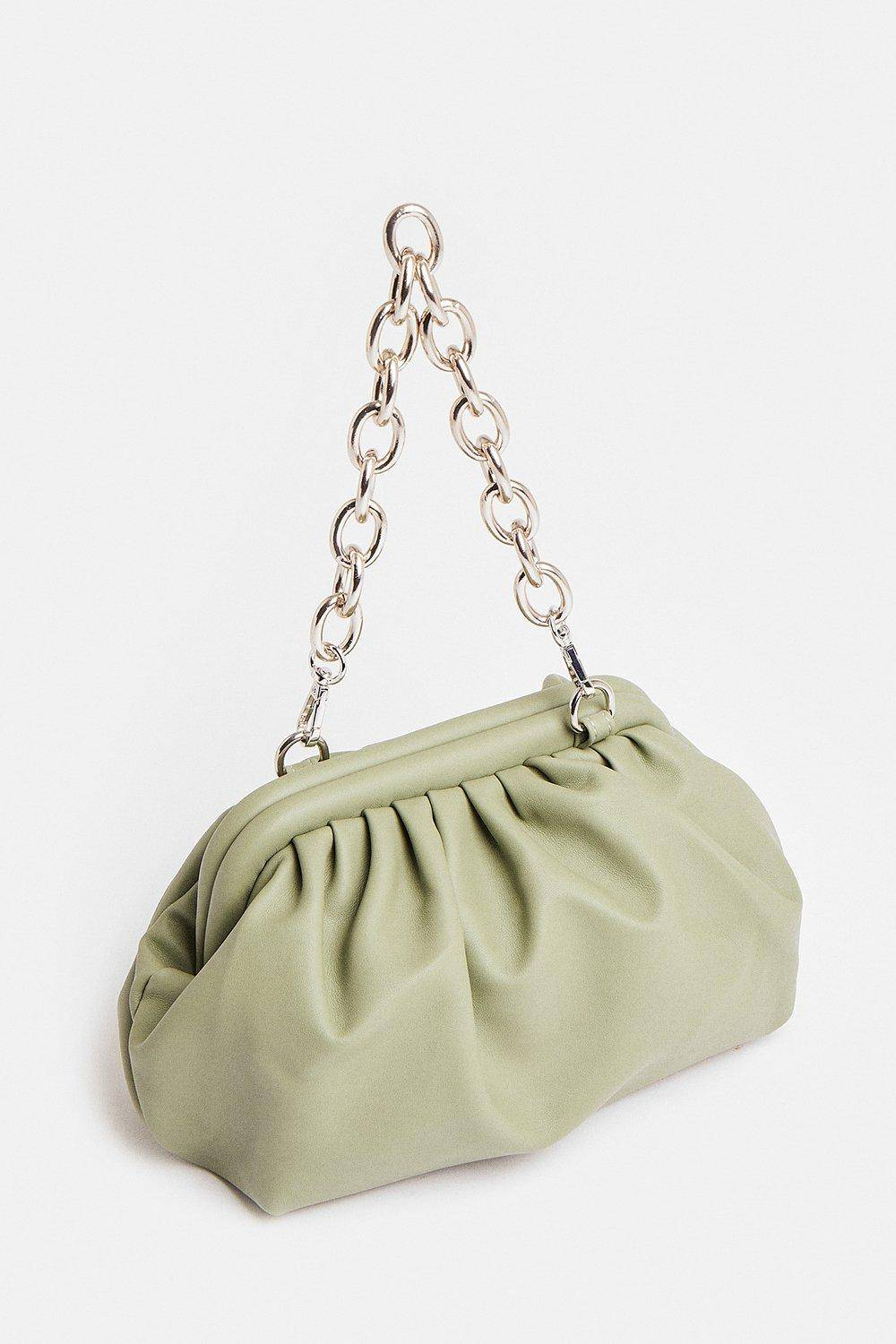 Coast Chain Strap Slouchy Shoulder Bag -, Olive  - Size: One Size