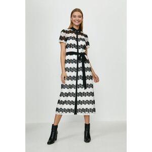 Coast Striped Lace Shirt Dress -, Mono  - Size: 16