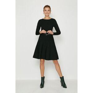 Coast Knitted Crew Neck Skater Dress -, Black  - Size: Large