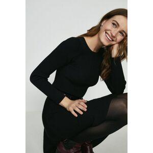 Coast Long Sleeve Knitted Crew Neck Skater Dress, Black  - Size: Large