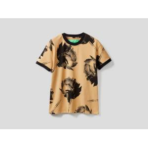 United Colors of Benetton Benetton, Printed T-shirt In Stretch Cotton, size XS, Beige, Women