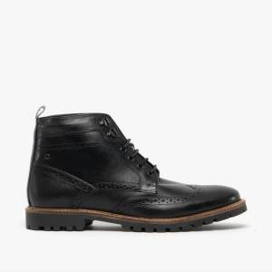Base London BOWER Mens Leather Brogue Ankle Boots Waxy Black: EU 41 Si