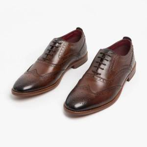 Base London FOCUS Mens Leather Brogue Shoes Washed Brown: UK 12 Size: