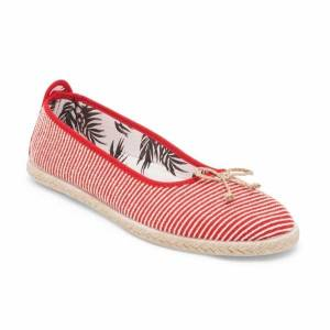 Flossy SABROSO Ladies Canvas Slip On Ballerina Shoes Red: EU 37