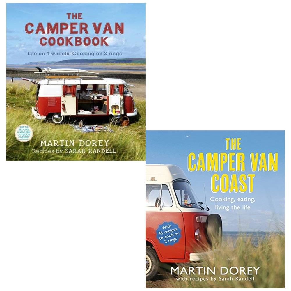 Martin Dorey camper van cookbook and the camper van coast 2 books collection set - life on 4 wheels, cooking on 2 rings, cooking, eating, living the life