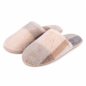 totes Ladies Check Fur Mule Slipper Grey Small (UK 3-4)
