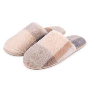 totes Ladies Check Fur Mule Slipper Grey Medium (UK 5-6)