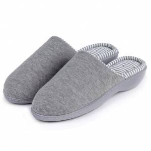 Totes Isotoner Ladies  Striped Heeled Mule Slipper Grey UK Size 5