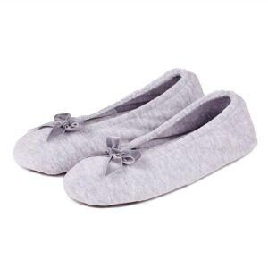 Isotoner Ladies Terry Ballerina Slippers Grey Small (UK 3-4)