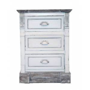 Charles Bentley Shabby Chic 3 Drawer Bedside Table White
