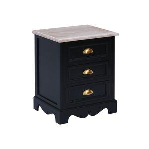 Charles Bentley Loxley 3 Drawer Bedside Table Black