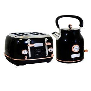 Charles Bentley 1.7L Kettle & 4 Slice Toaster Set Black & Rose Gold