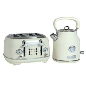 Charles Bentley 1.7L Kettle & 4 Slice Toaster Set Cream & Chrome