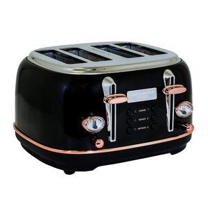 Charles Bentley 4 Slice Toaster Black & Rose Gold