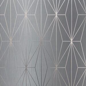Muriva Kayla Metallic Geometric Wallpaper Grey / Gunmetal Muriva 703014