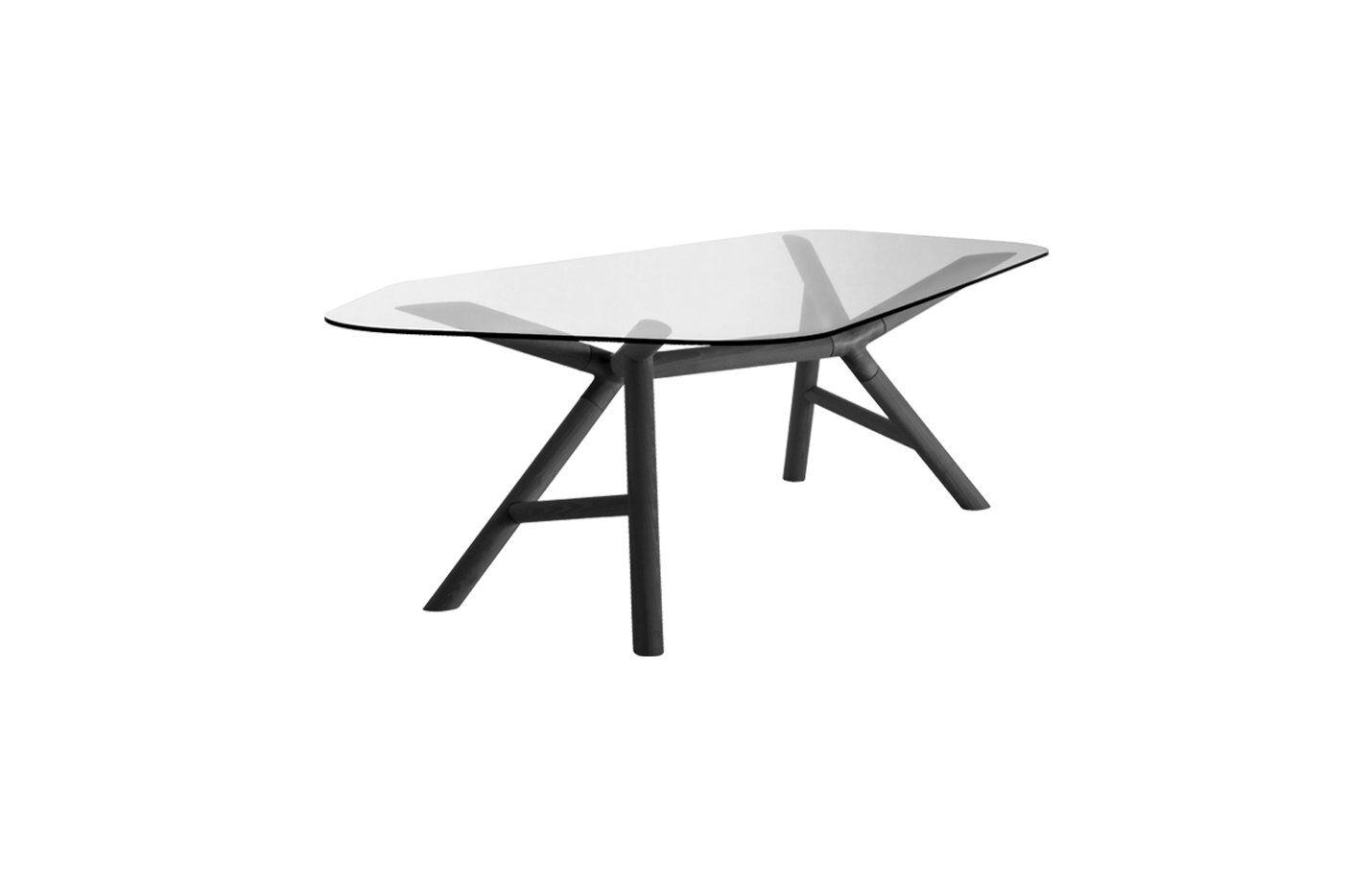 Miniforms Otto Table by Miniforms 200 x 118 x 74 cm Europe Gray Glass Black Ash Wood