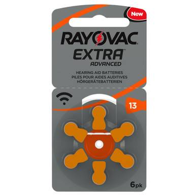 Rayovac Extra Size 13   Orange   Hearing Aid Batteries   6 Pack