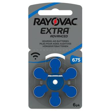 Rayovac Extra Size 675   Blue   Hearing Aid Batteries   6 Pack