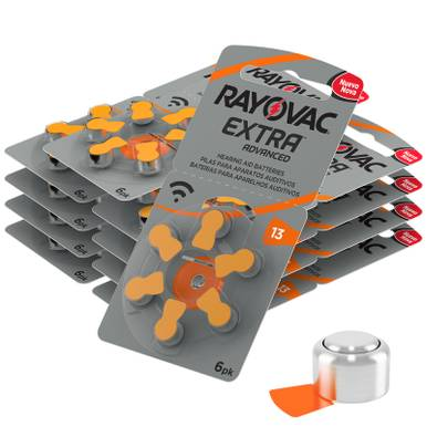 Rayovac Extra Size 13   Orange   Hearing Aid Batteries   60 Pack