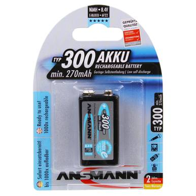 Ansmann Max-E 9V PP3 HR22 300mAh Pre-charged Rechargeable Battery   1 Pack