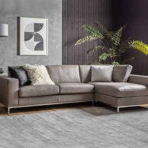 HJ Home Florence Leather 3 Seater Corner Chaise Sofa - Grey