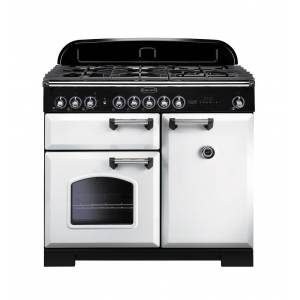 Rangemaster CDL100DFFWH/C Classic Deluxe 100cm Dual Fuel Range Cooker - White/Chrome