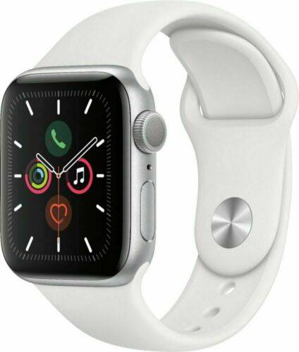 Apple Watch Series 5 GPS Model (Brand New), 44MM / White Sports Band with Silver Aluminum Case