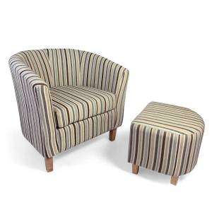 Accent Chairs Tub Chair & Stool Set Tub Chenille Stripe Duck Egg Chair & Stool Set