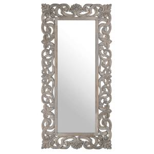 Home Accessories Colonial Grey Painted Hand Carved Hard Wood Mirror