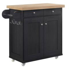 Home Accessories Barking Kitchen Island   Black   Self Assembly