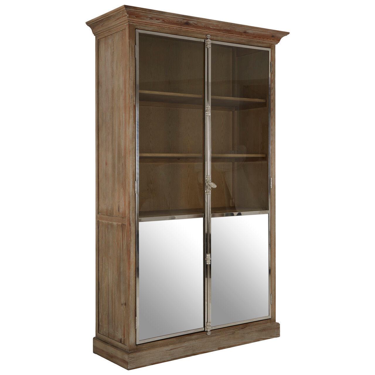 Plymouth 2 Door Cabinet   Whitewash Pine Wood   Glass