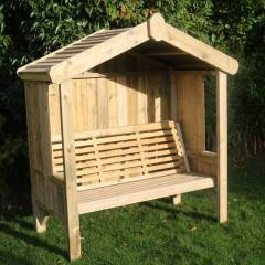 Timber Garden Furniture Timber Cottage Arbour   Fully Enclosed   3 Seat