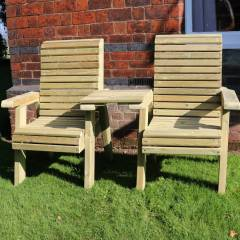 Timber Garden Furniture Timber Ergo Love Seat   Square Tray
